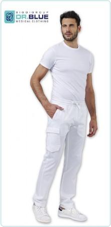 Pantalone Bianco Tasconi BDU Medico Infermiere Chef Cuoco Pasticcere Unisex STAN di Siggi linea DR.BLUE Art. 04PA1119