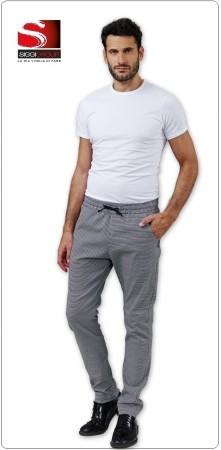 Pantalone Unisex Professionale da Cuoco Chef CLAM Pied de Poule Coulisse Chef Sale e Pepe 98% Cotone 2% Spansex  Tinto in Filo Siggi Art.28PA1118