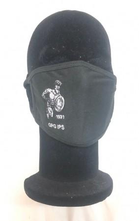 Mascherina Protettiva Modello Adulto con Ricamo Guancia GPG IPS Guardia Giurata Guardie Giurate Gladiatore NERA Lavabile Art. NSD-GPG-GL1