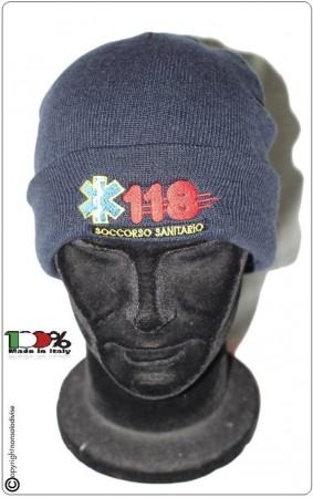 Berretto Zuccotto Papalina Watch Cap Invernale Blu Royal con Ricamo  Soccorso Sanitario 118  Art.TUS-41