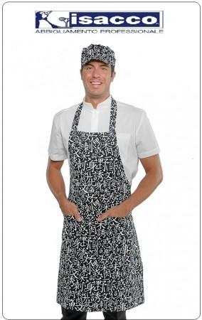 Grembiule Cucina Pettorina con Tascone cm 90x70 Sushi  Isacco Art.087176-S
