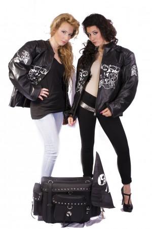 Giacca Motociclista Vera Pelle Ricamata Jacket Bikers Skull Genuine Leather  Art.NSD-BIKERS