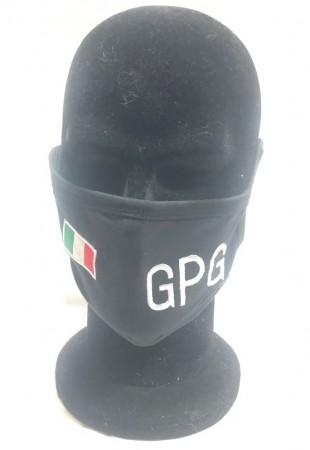 Mascherina Protettiva Modello Adulto con Ricamo Guancia Guardia Particolare Giurata  GPG + Bandiera Italia  Lavabile Art. NSD-GPG-19GPG