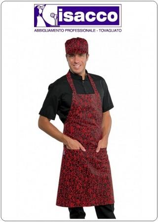 Grembiule Cucina Pettorina con Tascone cm 90x70 SUSHI Nero + Rosso  Isacco Art.087073