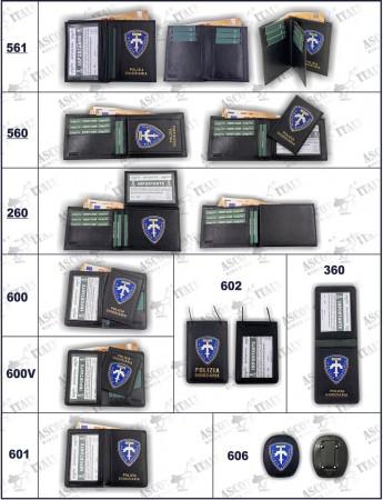 Serie Completa di Portafogli con Placca Polizia Giudiziaria LEX VENDITA RISERVATA  Ascot Italia Art. 561-560-260-600-600V-601-602-360-606