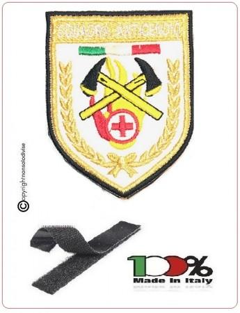 Patch Toppa Ricamata a Macchina Squadre Antincendio con Abilitazione al Primo Soccorso Soccorso Croce Rossa italiana NEW  Art.NSD-SS-CRI