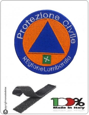Pacth Toppa con Velcro Ricamata Protezione Civile Regione Lombardia cm 8.50 Art PC-LOM