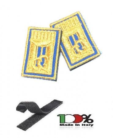 Alamari Ricamati con Velcro Blu Per Polo o Camicia e Tuta Operativa Polizia Locale Vigilanza Security cm 4.50x3.00 Art.NSD-MOD2