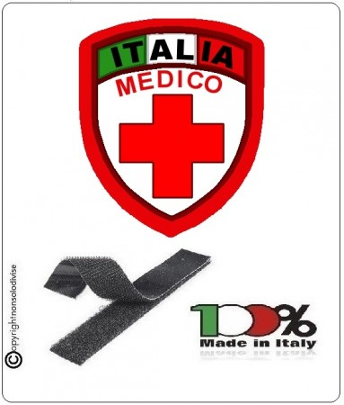 Patch Scudetto Croce Rossa Italiana Medico Nuovo Modello  CRI Art.CRI-MED