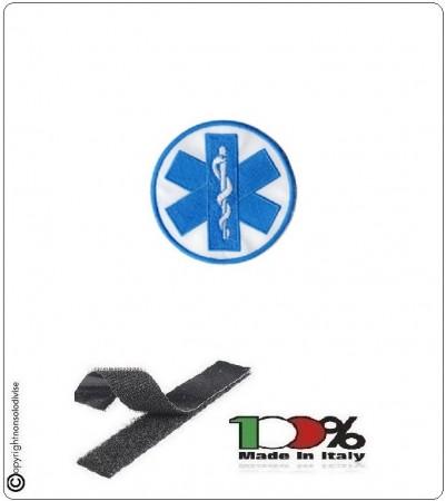 Patch Toppa Con Velcro Croce Esculapio Blu Soccorso Sanitario AMPAS Art.NSD-ES-1