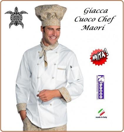 Giacca Cuoco Chef Maori Bianca + Rifiniture  Isacco Art.059295