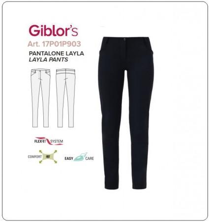 Pantalone Sala Donna Layla Colore Nero Elasticizzato Bar Cameriera Reception Giblor's Art.17P01P903
