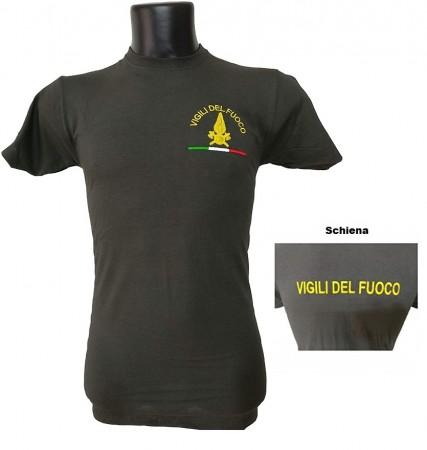 Maglietta T-Shirt Vigili del Fuoco Ricamata Girocollo Cotone Pompieri VENDITA RISERVATA Art.VVFF-T