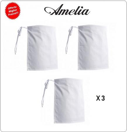 Grembiule Parannanza Senza Tasca 100% Cotone By Amelia Primo Prezzo per Scuola Alberghiera 3 PEZZI A ORDINE INGROSSO  Art.AMELIA-ING-1