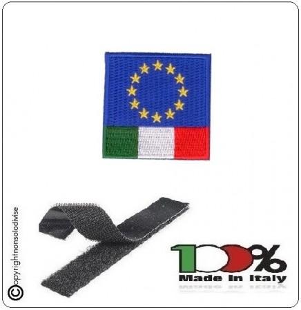 Patch Toppa Bandiera EuroItaly Euro Italy Ricamato con Velcro 5x5 Art.NSD-EUI5