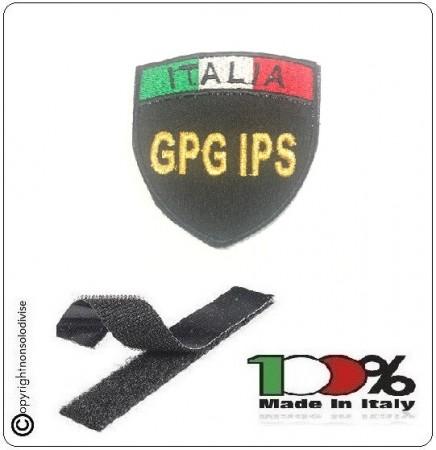 Patch Scudetto con Velcro Guardie Particolari Giurate GPG IPS Nero + Bandiera Art.GPG-IPS-IT