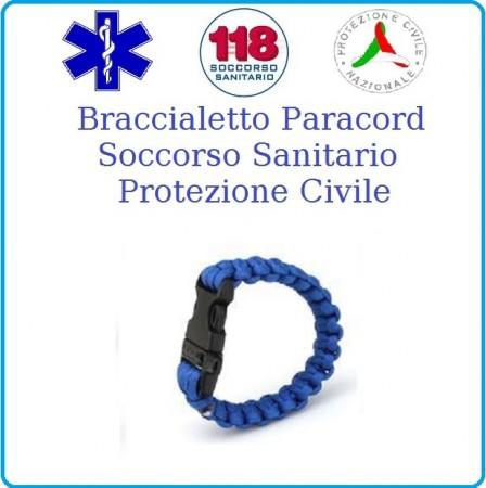 Bracciale Paracord Blu Royal Emergenza 118 Soccorso Protezione Civile Art.16370103
