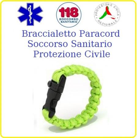 Bracciale Paracord Giallo Fluò Emergenza 118 Soccorso Protezione Civile Art.16370112