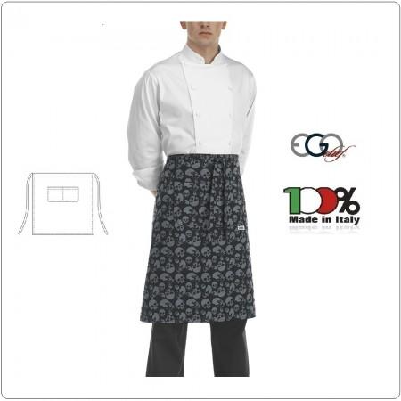 Grembiule Falda Vita Con Tascone Skulls Teschi Neri cm 70x70 Ego Chef Italia Art.6101120A