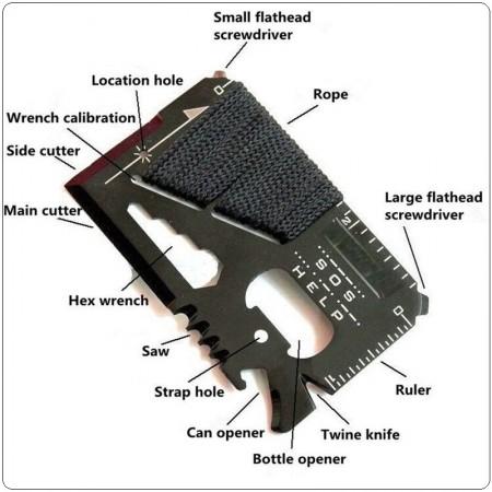 Survival Tool Card Carta Emergenza Soccorso Nero con Paracord Art.PARA-1