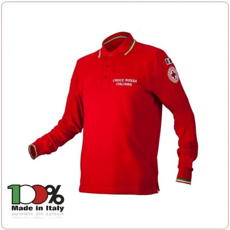 Polo Rossa Croce Rossa Italiana CRI Nuovo Capitolato Manica Lunga Completamente Ricamata Art.SS-P-ROSSA