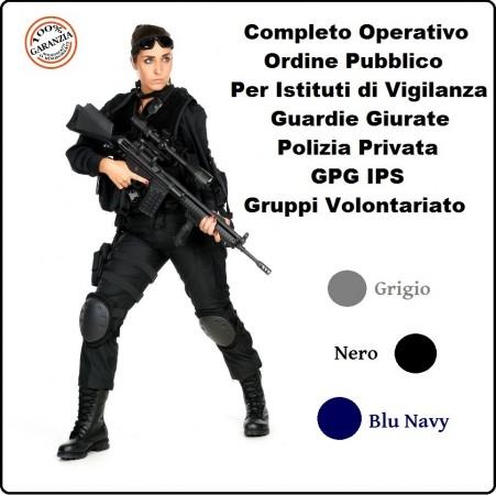 Completo Operativo Ordine Pubblico Tuta Operativa Giacca + Pantaloni BLU NAVY GRIGIO NERO Per Vigilanza e Volontariato  Art.OP-COM-NSD