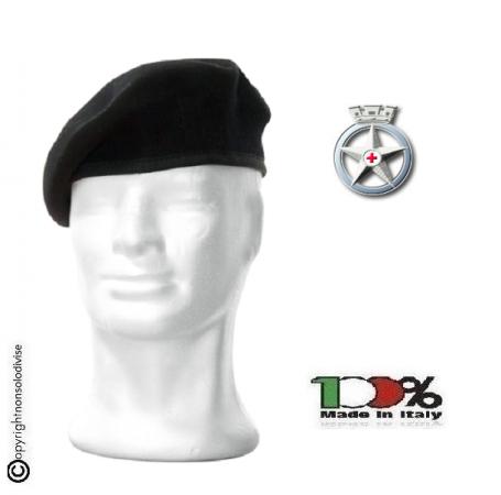 Basco Spagnolo Nero con Fregio Croce Rossa Militare Italiana CRI FAV Italia  Art.FAV-CRIM