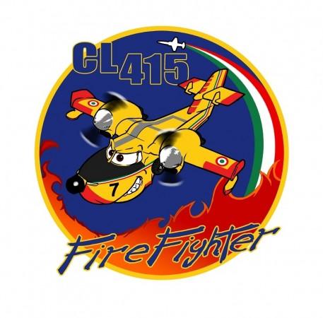 Patch Toppa Ricamata con Velcro CL 415 Fire Fighter Pompiere Vigili Del Fuoco cm 10.00  Art. CL415