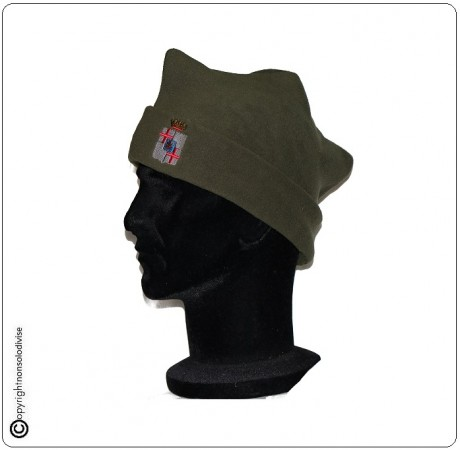 Berretto Bustina 3 Punte Verde OD  Modello Militare con Logo Artiglieria Contraerea Art.NSD-EI-ART