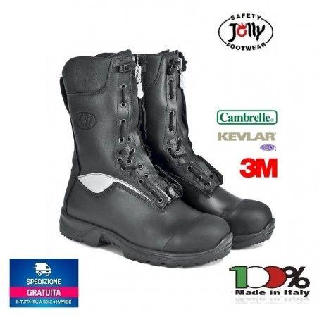 Anfibio Scarponcino Stivaletto Scarpone Specilguard Vigili del Fuoco Guarda ai Fuochi Protezione Civile Jolly Italia Cambrelle Art. 9052/A-C