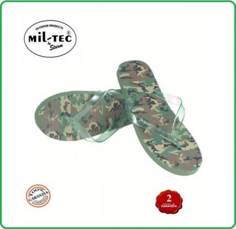 Ciabatte Infradito Militari da Mare Spiaggia Moda Mimetiche Woodland MIL-TEC Art.12894020