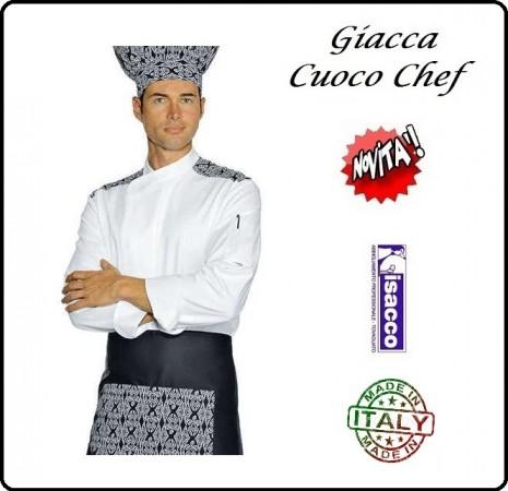 Giacca Cuoco Chef Maori Bianca + Rifiniture Nere Isacco Art.059991