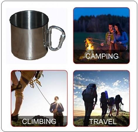 Tazza Alpina Acciaio Bicchiere con Moschettone Montagna Camping Alpinismo Art.311053