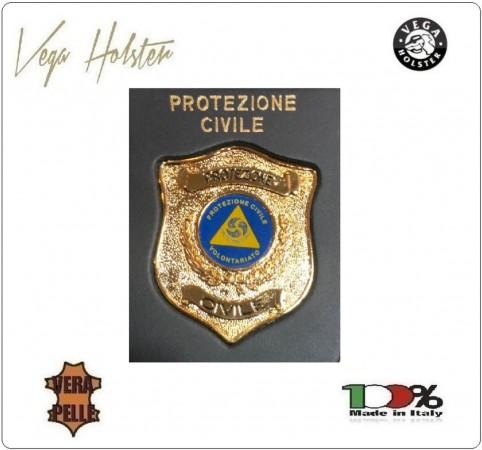 Placca con Supporto Cuoio Da Inserire Al Portafoglio Protezione Civile Volontari 1WG Vega Holster Italia Art. 1WG-115