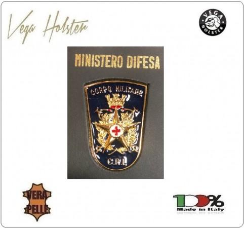 Placca con Supporto Cuoio Da Inserire Al Portafoglio Croce Rossa Militare CRI C.R.I. 1WG Vega Holster Italia Art. 1WG-52CRI