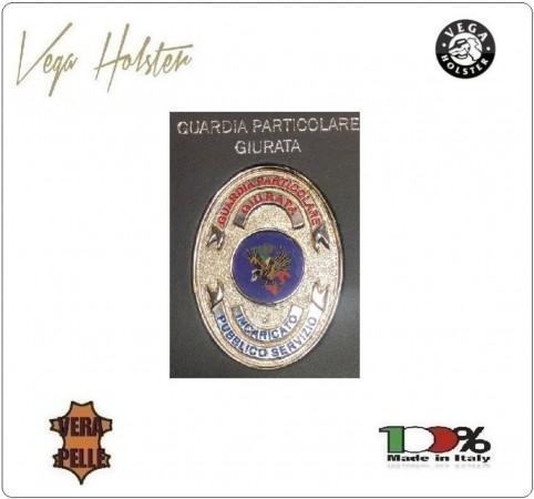 Placca con Supporto Cuoio Da Inserire Al Portafoglio GPG IPS Guardia particolare Giurata 1WG Vega Holster Italia Art. 1WG-148