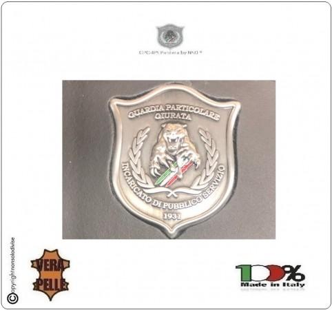 Placca con Supporto Cuoio Da Inserire Al Portafoglio GPG IPS Guardia Particolare Giurata Pantera 1WG NSD Italia Art. 1WG-P