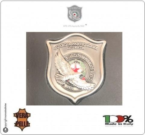 Placca con Supporto Cuoio Da Inserire Al Portafoglio GPG IPS Guardia Particolare Giurata Aquila New 1WG NSD Italia Art. 1WG-A
