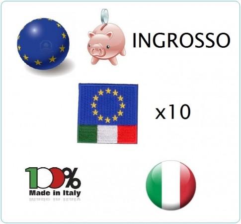 Patch Toppa Bandiera EuroItaly Euro Italy Ricamato con Velcro INGROSSO X 10 pezzi  Art.ING-EUI4