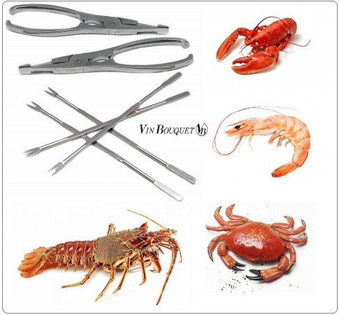 Set Crostacei + Pinza + Forchette Seafood Tools Set, Stainless Steel, Silver, 17 x 19 x 1.7 cm Vin Bouquet Art.FIH259