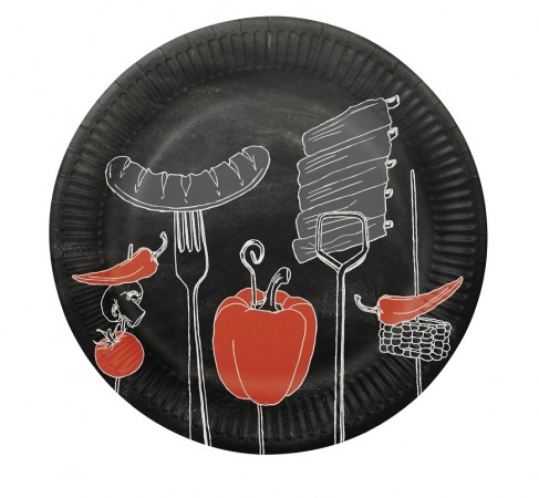 Piatto Carta Pappteller Paper Plates Fire Up The Grill Barbecue BBQ Art. PG806810