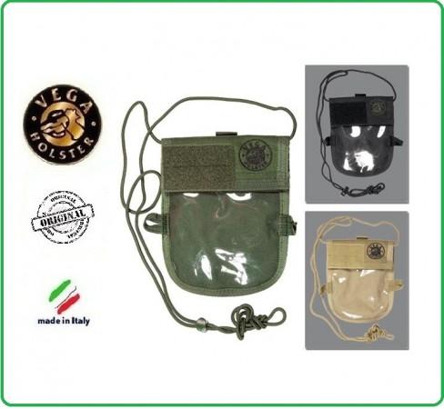 Portadocumenti da Collo Badge da Collo.Vega Holster Italia Nero Verde Kaky Art.2WM02