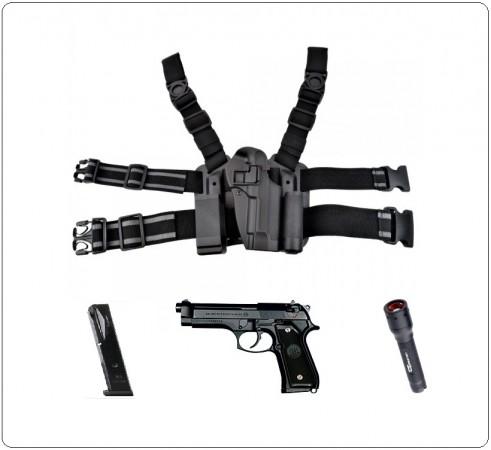 Fondina Cosciale Rigida ABS Per 92 Fs Con Sgancio Rapido Porta Caricatore e Porta Torcia Novità Art. HKIT-M9-B