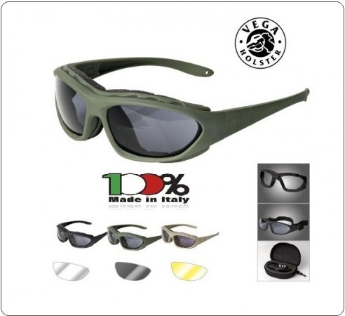 Occhiale Occhiali Poligono Tiratore Tempest  Nero Verde Desert  polizia Carabinieri Esercito Vega Holster Italia art.VEW02