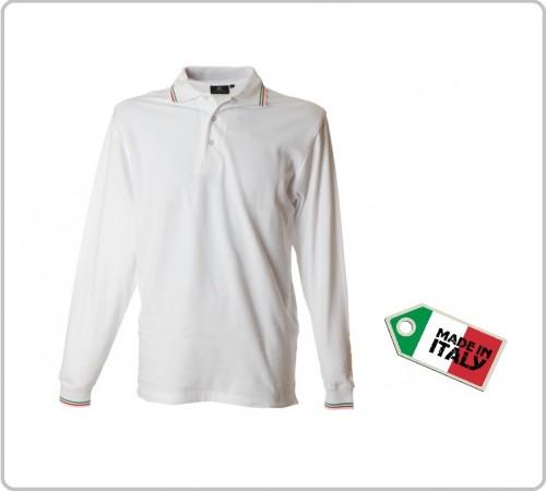 Polo Manica Lunga Bianca  Modello Italia Neutra Genova Art.989802