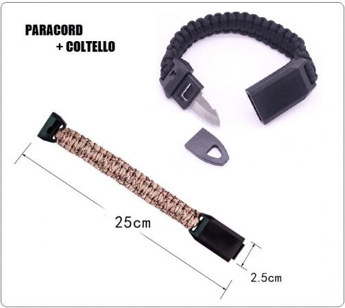 Bracciale Paracord + Coltello + Fischietto Nero Sopravvivenza Outdoor Militare Emergenza New  Art.ALI-CORD