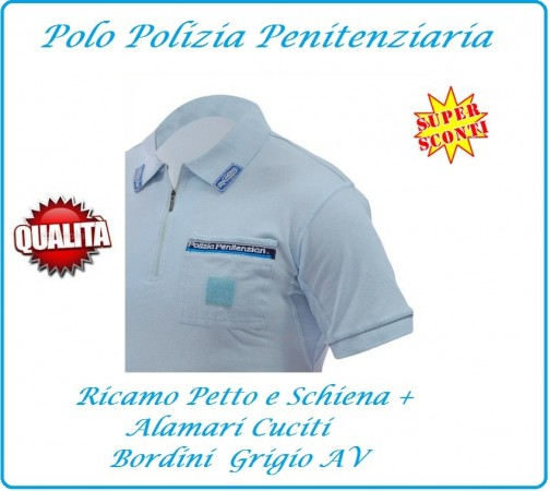 Polo Polizia Penitenziaria Completamente Ricamata Modello Nuovo Art.PP-POLO
