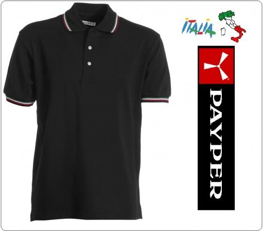 Polo Manica Corta Nera  Modello Italia Tricolore  Neutra Italia Payper Art.988443