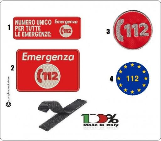 Toppa Patch con Velcro Numero Unico Emergenza 112 SOS Vari Modelli Art.112-X