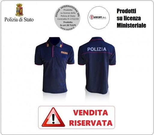 Polo Polizia di Stato Manica Corta Stradale Volante Squadra Mobile Modello Nuovo VENDITA RISERVATA OFFERTA  Art.NSD-POLO-PS